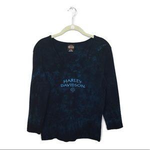 Vintage Harley Davidson Shirt Sz XL Blue Tie Dye